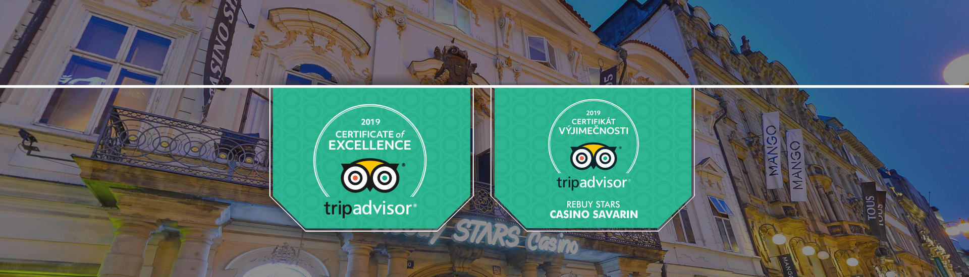 trip advisor - certificate of excellence - casino savarin prague - 2019