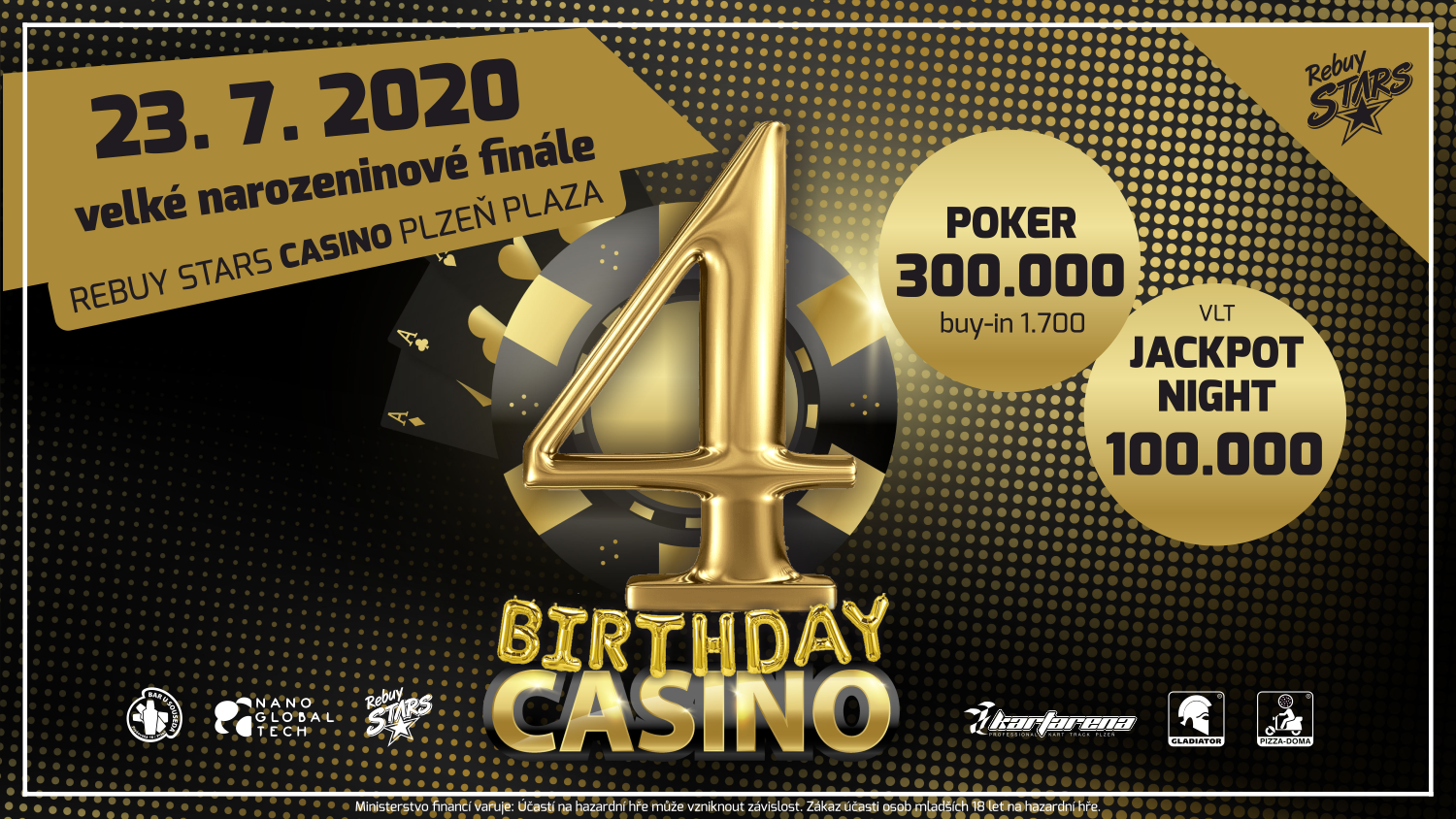Rebuy Stars - casino - Plzen Plaza - banner - bday - party